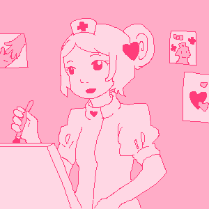 a nurse character is painting on a canvas. several drawings are stuck to the wall behind her