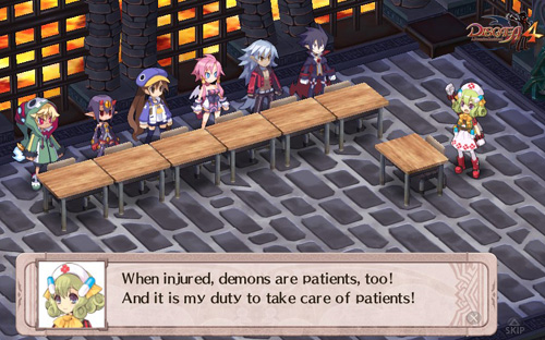 A cute girl with two pill hair accessories and a nurse cap stands in front of a row of misfit demons standing at a row of desks. The girl is saying ''When Injured, demons are patients too. And it's my duty to take care of patients!''