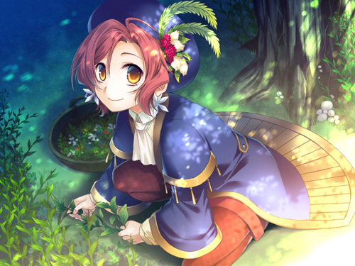 A short-haired girl in magical-looking robes is collecting herbs in the forest. Next to her is a container she has almost filled up with herbs.