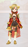 a healer character dressed in a fancy black, white and gold outfit