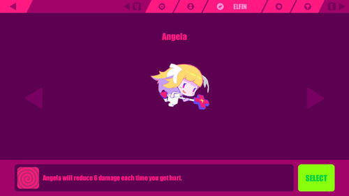 A cute little angel nurse with headwings and a staff with a plus shape at the end. Image text: Angela will reduce 6 damage each time you get hurt.