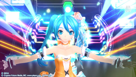 Hatsune Miku wearing a cute white and orange dress. The backdrop is a concert stage with a laser show going on.