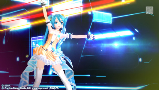 Hatsune Miku wearing a frilly white and orange-striped dress with a big blue ribbon attached to the back. She is standing on a futuristic concert stage.