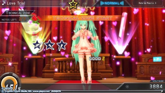 Hatsune Miku is wearing a cute frilly dress. The backdrop is a courtroom, but there are pink hearts floating in the air.